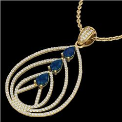 2 CTW Sapphire & Micro Pave VS/SI Diamond Designer Necklace 18K Yellow Gold - REF-133H3W - 22472