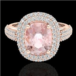 3.25 CTW Morganite & Micro Pave VS/SI Diamond Certified Halo Ring 14K Rose Gold - REF-128K4R - 20719