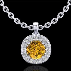 1.1 CTW Intense Fancy Yellow Diamond Art Deco Stud Necklace 18K White Gold - REF-121Y8N - 38001