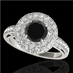 2.25 CTW Certified Vs Black Diamond Solitaire Halo Ring 10K White Gold - REF-124F8M - 34205