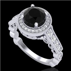 1.91 CTW Fancy Black Diamond Solitaire Engagement Art Deco Ring 18K White Gold - REF-130H9W - 37681