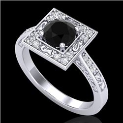 1.1 CTW Fancy Black Diamond Solitaire Engagement Art Deco Ring 18K White Gold - REF-100K2R - 38150