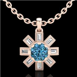 1.33 CTW Fancy Intense Blue Diamond Solitaire Art Deco Necklace 18K Rose Gold - REF-138H2W - 37874