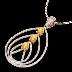 2 CTW Citrine & Micro Pave VS/SI Diamond Designer Necklace 14K Rose Gold - REF-111M6F - 22465