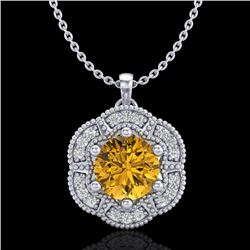 1.01 CTW Intense Fancy Yellow Diamond Art Deco Stud Necklace 18K White Gold - REF-136K4R - 37973