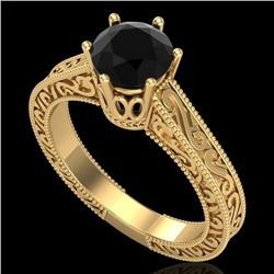 1 CTW Fancy Black Diamond Solitaire Engagement Art Deco Ring 18K Yellow Gold - REF-105R5K - 37571