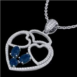 3 CTW Sapphire & Micro Pave Designer Inspired Heart Necklace 14K White Gold - REF-117H8W - 22543