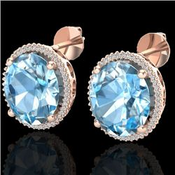 25 CTW Sky Blue Topaz & Micro VS/SI Diamond Halo Earrings 14K Rose Gold - REF-115W3H - 20264