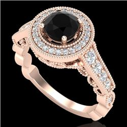 1.12 CTW Fancy Black Diamond Solitaire Engagement Art Deco Ring 18K Rose Gold - REF-125W5H - 37689
