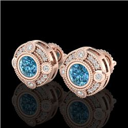 1.5 CTW Fancy Intense Blue Diamond Art Deco Stud Earrings 18K Rose Gold - REF-178Y2N - 37699
