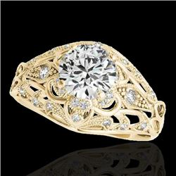 1.36 CTW H-SI/I Certified Diamond Solitaire Antique Ring 10K Yellow Gold - REF-172W8H - 34713