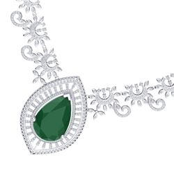 65.75 CTW Royalty Emerald & VS Diamond Necklace 18K White Gold - REF-1581M8F - 39774