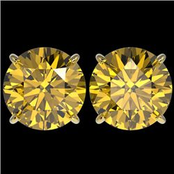 5 CTW Certified Intense Yellow SI Diamond Solitaire Stud Earrings 10K Yellow Gold - REF-1390N5Y - 33