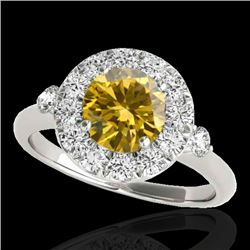 1.5 CTW Certified Si Fancy Intense Yellow Diamond Solitaire Halo Ring 10K White Gold - REF-180W2H -