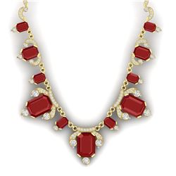75.21 CTW Royalty Ruby & VS Diamond Necklace 18K Yellow Gold - REF-1363T6X - 38750