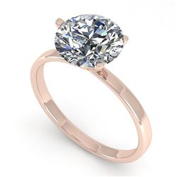 2 CTW Certified VS/SI Diamond Engagement Ring 18K Rose Gold - REF-936H2W - 32243