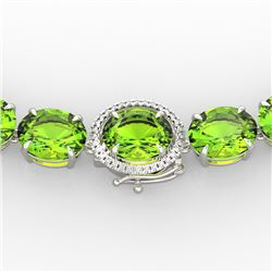 148 CTW Peridot & VS/SI Diamond Solitaire Necklace 14K White Gold - REF-913N8Y - 22307