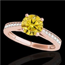 1.25 CTW Certified Si Fancy Intense Yellow Diamond Solitaire Ring 10K Rose Gold - REF-158K2R - 35013