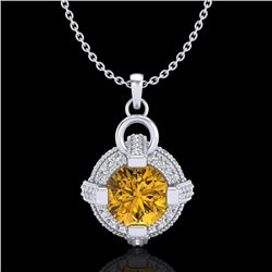 1.57 CTW Intense Fancy Yellow Diamond Micro Pave Stud Necklace 18K White Gold - REF-147M3F - 37637