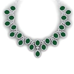 81 CTW Royalty Emerald & VS Diamond Necklace 18K White Gold - REF-1618W2H - 38619