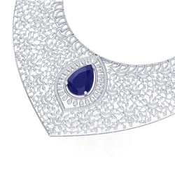 63.93 CTW Royalty Sapphire & VS Diamond Necklace 18K White Gold - REF-2563W6H - 39576