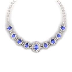 46.51 CTW Royalty Tanzanite & VS Diamond Necklace 18K Rose Gold - REF-1727N3Y - 38800