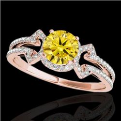 1.36 CTW Certified Si Fancy Intense Yellow Diamond Solitaire Ring 10K Rose Gold - REF-169H3W - 35330