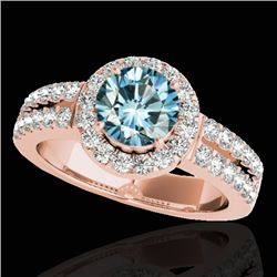 1.5 CTW SI Certified Fancy Blue Diamond Solitaire Halo Ring 10K Rose Gold - REF-180F2M - 33995