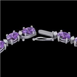 28 CTW Amethyst & VS/SI Diamond Certified Eternity Tennis Necklace 10K White Gold - REF-146W5H - 215