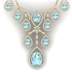 37.91 CTW Royalty Sky Topaz & VS Diamond Necklace 18K Yellow Gold - REF-800R2K - 38567