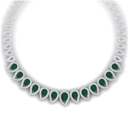 33.4 CTW Royalty Emerald & VS Diamond Necklace 18K White Gold - REF-1236F4M - 39435