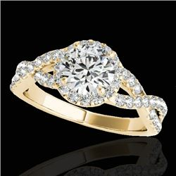 1.54 CTW H-SI/I Certified Diamond Solitaire Halo Ring 10K Yellow Gold - REF-180X2T - 33789