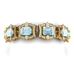 42.18 CTW Royalty Sky Topaz & VS Diamond Bracelet 18K Yellow Gold - REF-654F5M - 38786