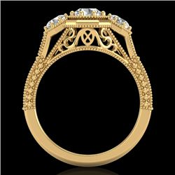 1.05 CTW VS/SI Diamond Solitaire Art Deco 3 Stone Ring 18K Yellow Gold - REF-200R2K - 37102