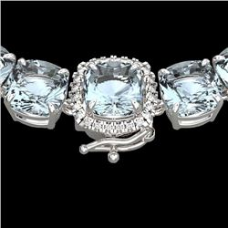 87 CTW Aquamarine & VS/SI Diamond Halo Micro Eternity Necklace 14K White Gold - REF-726M9F - 23336