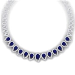 33.4 CTW Royalty Sapphire & VS Diamond Necklace 18K White Gold - REF-1200K2R - 39441