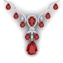 37.14 CTW Royalty Ruby & VS Diamond Necklace 18K White Gold - REF-763W6H - 38592