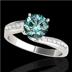 1.15 CTW SI Certified Fancy Blue Diamond Bypass Solitaire Ring 10K White Gold - REF-149W3H - 35068