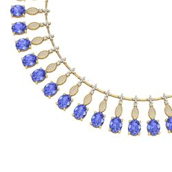 67.15 CTW Royalty Tanzanite & VS Diamond Necklace 18K Yellow Gold - REF-1527H3W - 39131