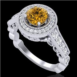 1.12 CTW Intense Fancy Yellow Diamond Engagement Art Deco Ring 18K White Gold - REF-167X3T - 37693