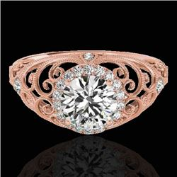 1.22 CTW H-SI/I Certified Diamond Solitaire Halo Ring 10K Rose Gold - REF-170F9M - 33779