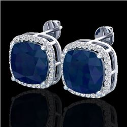 12 CTW Sapphire & Micro Pave Halo VS/SI Diamond Earrings 18K White Gold - REF-158H2W - 23068