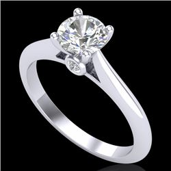 0.83 CTW VS/SI Diamond Solitaire Art Deco Ring 18K White Gold - REF-200N2Y - 37283