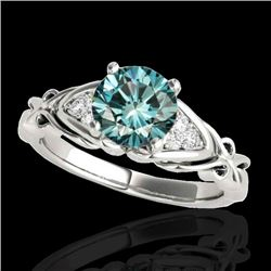 1.35 CTW SI Certified Fancy Blue Diamond Solitaire Ring Two Tone 10K White Gold - REF-200M2F - 35212