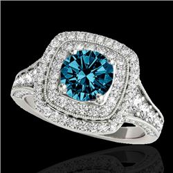 2 CTW SI Certified Fancy Blue Diamond Solitaire Halo Ring 10K White Gold - REF-209Y3N - 33657
