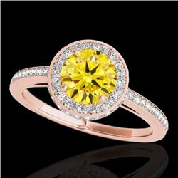 1.55 CTW Certified Si Fancy Intense Yellow Diamond Solitaire Halo Ring 10K Rose Gold - REF-180R2K -