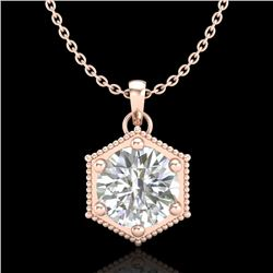 0.82 CTW VS/SI Diamond Solitaire Art Deco Stud Necklace 18K Rose Gold - REF-218M2F - 37221