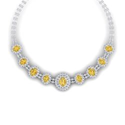 43.20 CTW Royalty Canary Citrine & VS Diamond Necklace 18K White Gold - REF-1490N9Y - 38805