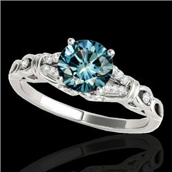 1.2 CTW SI Certified Fancy Blue Diamond Solitaire Ring 10K White Gold - REF-156Y4N - 35255