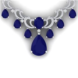 34.91 CTW Royalty Sapphire & VS Diamond Necklace 18K White Gold - REF-963K6R - 38661